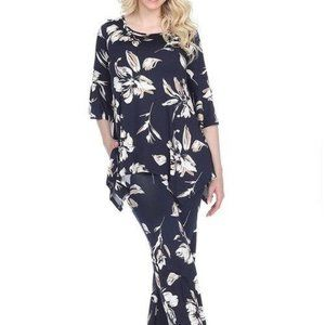 Print 2-Piece Navy Flowers Print Set SET-027